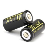 LiCB 2Packs 1650mAh 16340 Battery Rechargeable Li-ion With Lithium Battery Holder case 3.7v Batteries Black(2 PCS)